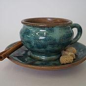 Посуда ручной работы. Ярмарка Мастеров - ручная работа Чайная пара Голубая ель. Handmade.