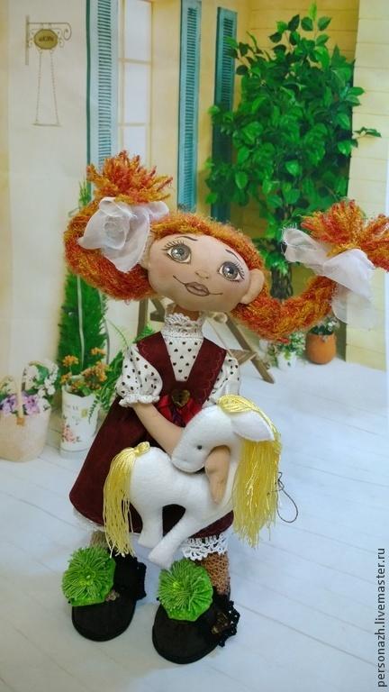 Куклы тыквоголовки ручной работы. Ярмарка Мастеров - ручная работа. Купить Пеппи Длинныйчулок. Handmade. Текстильная кукла, лошадь игрушка