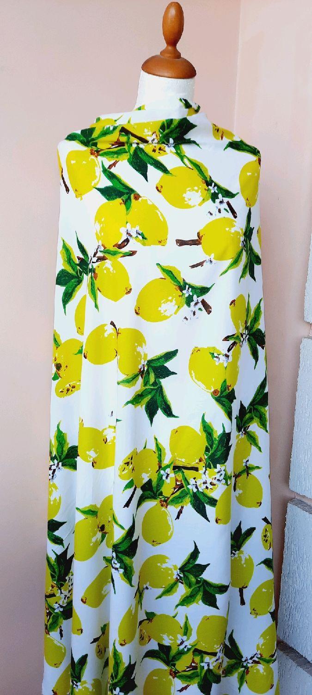 Ткань штапель 3D лимоны  , СМ  01.23, Ткани, Москва,  Фото №1
