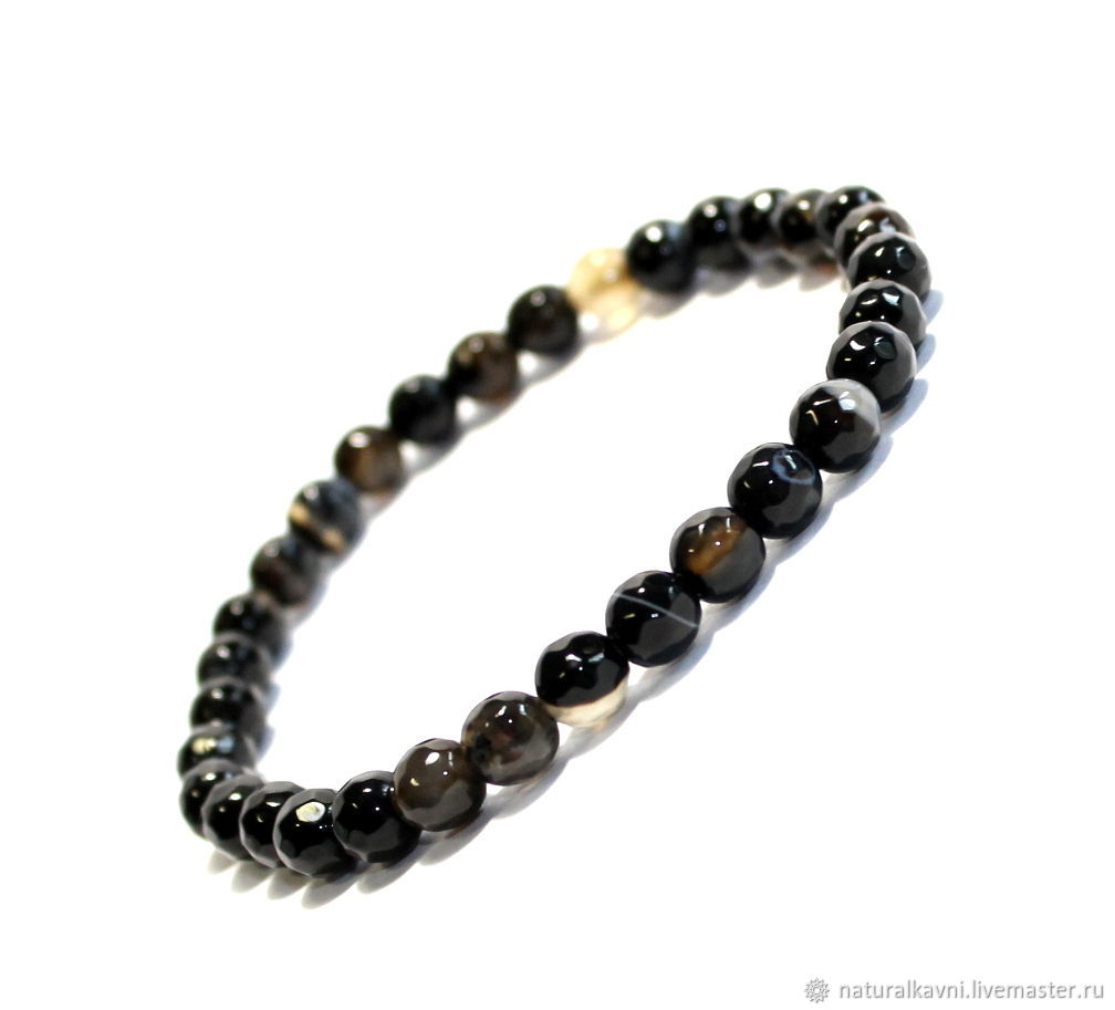Bracelet made of natural black agate with cut, Bead bracelet, Moscow,  Фото №1