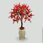 Цветы и флористика ручной работы. Ярмарка Мастеров - ручная работа Дерево успеха из красного коралла в вазочке из оникса. Handmade.