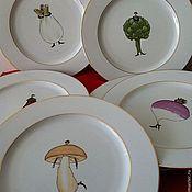 """Посуда ручной работы. Ярмарка Мастеров - ручная работа Набор тарелок """"Веселые овощи"""". Handmade."""