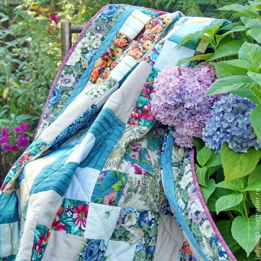 Лоскутное одеяло (покрывало) Цветы и Бирюза фото. Мастер Lady Olga (Ольга)
