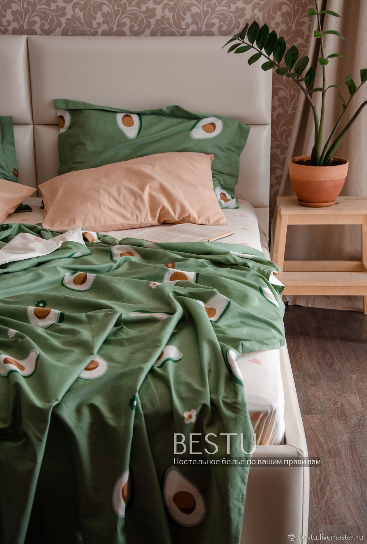 Авокадо постельное белье из сатина хлопок. Постельное бельё с авокадо, Комплекты постельного белья, Тольятти,  Фото №1