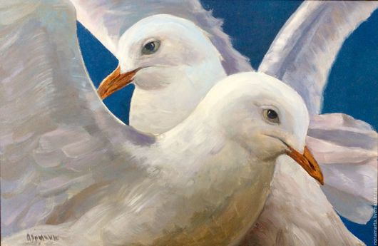 Картина Море Чайки Картина маслом Картина на холсте Голубой Синий Море Чайки Солнце Блики на воде Вода Двое Белый
