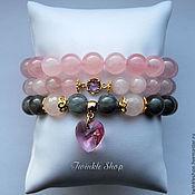 Украшения handmade. Livemaster - original item A delicate set of bracelets made of quartz and Labrador. Handmade.