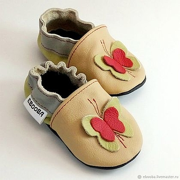 Footwear handmade. Livemaster - original item Butterfly Baby Shoes, Newborn Booties, Crib shoes, Leather Slippers. Handmade.