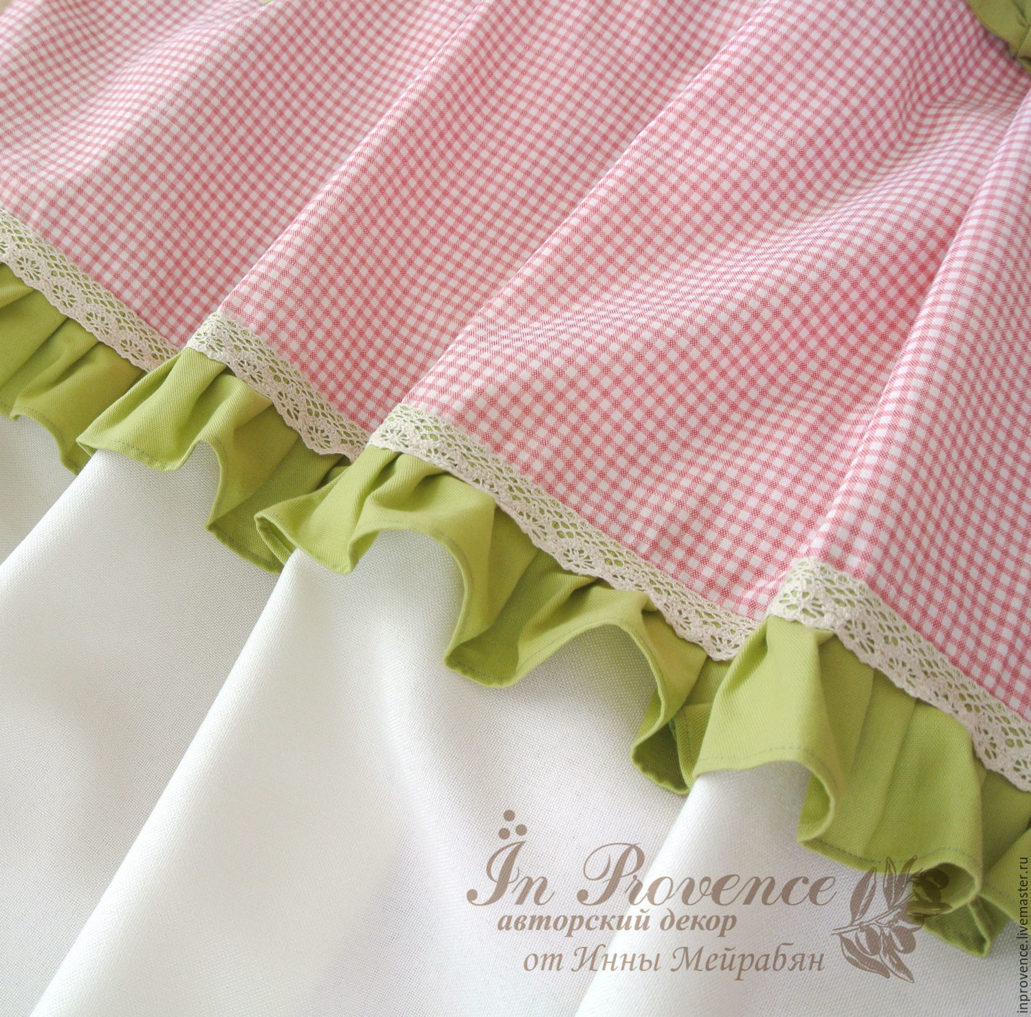 Curtains With Checkered Pink Cotton Provence. Kitchen Curtains. Curtains To  Order. Sewing Curtains