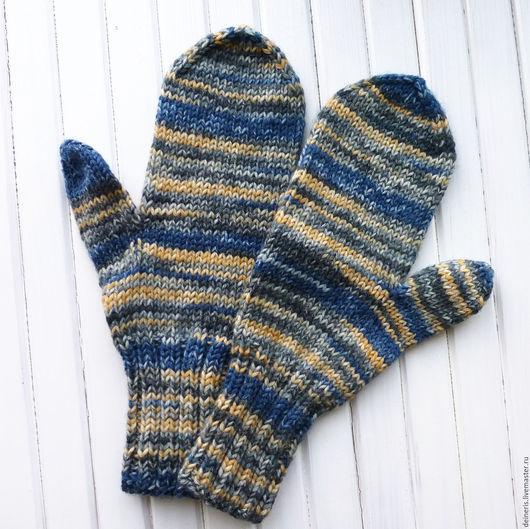 Варежки, митенки, перчатки ручной работы. Ярмарка Мастеров - ручная работа. Купить Варежки вязаные сине-желтые. Handmade. Комбинированный