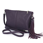 Сумки и аксессуары handmade. Livemaster - original item Purple leather Bag with crossbody shoulder strap. Handmade.