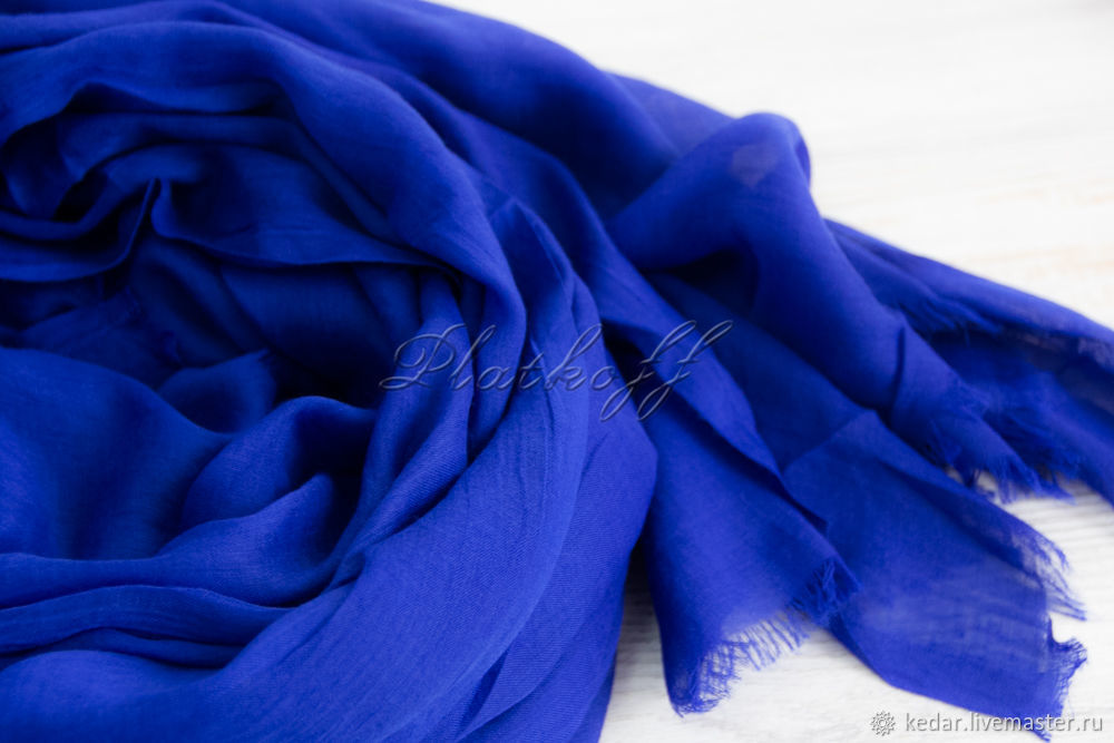 A bright blue stole made of Italian cambric, Wraps, Moscow,  Фото №1