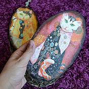 Картины и панно ручной работы. Ярмарка Мастеров - ручная работа Коты Климта на спиле дерева. Handmade.