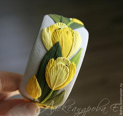 """Браслеты ручной работы. Ярмарка Мастеров - ручная работа. Купить Браслет """"Жёлтые тюльпаны"""" из полимерной глины с цветами. Handmade. Тюльпаны"""