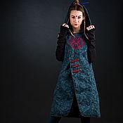 Одежда ручной работы. Ярмарка Мастеров - ручная работа Пальто с капюшоном без рукавов  пальто льняное синее легкое жилет. Handmade.