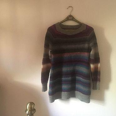 """Одежда ручной работы. Ярмарка Мастеров - ручная работа Пуловеры: """"тТеплые полоски"""" - пуловер-туника из 100% шерсти. Handmade."""