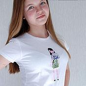 Одежда ручной работы. Ярмарка Мастеров - ручная работа Футболка. Необычная футболка, креативная футболка с куклой в платьях.. Handmade.