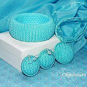 Украшения handmade. Livemaster - original item Knitted necklace, earrings, bracelet sky Blue. Handmade.