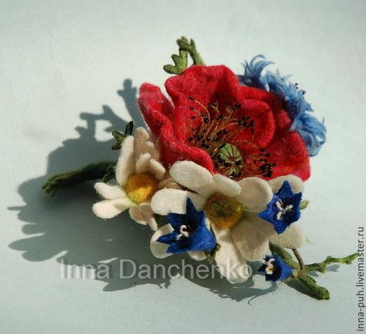 Мак, брошь цветы, валяная брошь цветы, Данченко Инна, Брошки и Игрушки