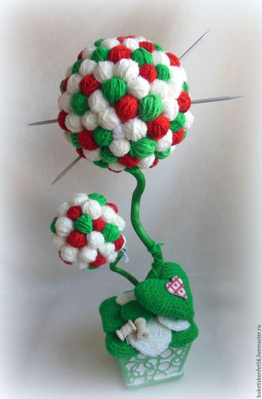 """Топиарии ручной работы. Ярмарка Мастеров - ручная работа. Купить Топиарий - дерево счастья """"Клубочки"""".. Handmade. Комбинированный, подарок вязальщице"""