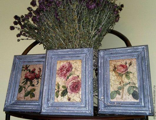 """Картины цветов ручной работы. Ярмарка Мастеров - ручная работа. Купить Картины-триптих в состаренных багетах """"Три розы"""" PF0089. Handmade."""