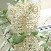 Аппликации ручной работы. Ярмарка Мастеров - ручная работа Вышитая аппликация ажурная бабочка нашивка кружевная. Handmade.