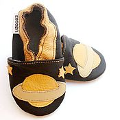 Работы для детей, handmade. Livemaster - original item Baby Shoes Space, Leather Baby Slippers,  Saturn Baby Shoes. Handmade.