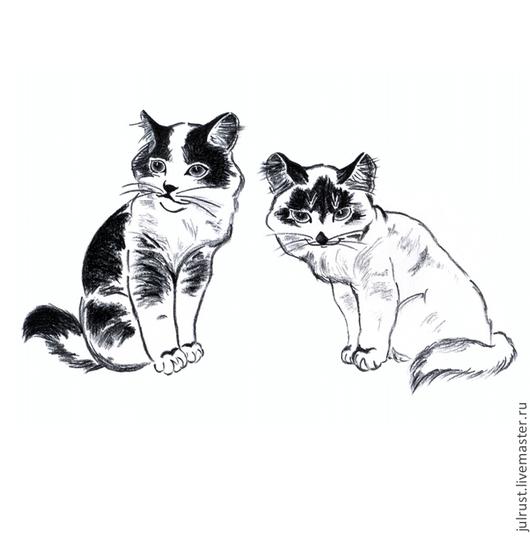 Животные ручной работы. Ярмарка Мастеров - ручная работа. Купить Картина Котята рисунок углем графика кошки черно-белый. Handmade.