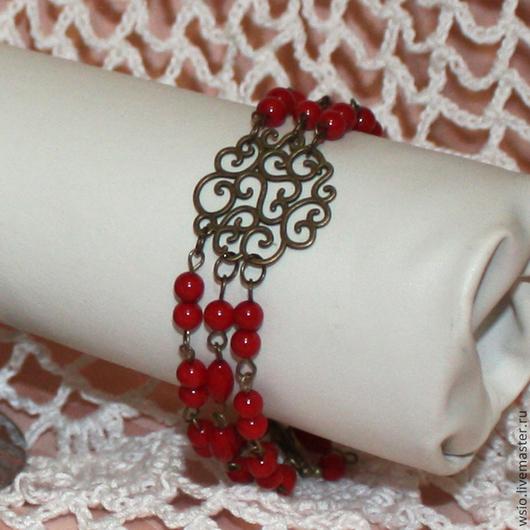 Браслет с красным кораллом `Ажур`(3 ряда) цена=1000р.