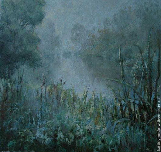 """Пейзаж ручной работы. Ярмарка Мастеров - ручная работа. Купить Картина маслом """"Туманное утро"""" пейзаж. Handmade. Голубой"""