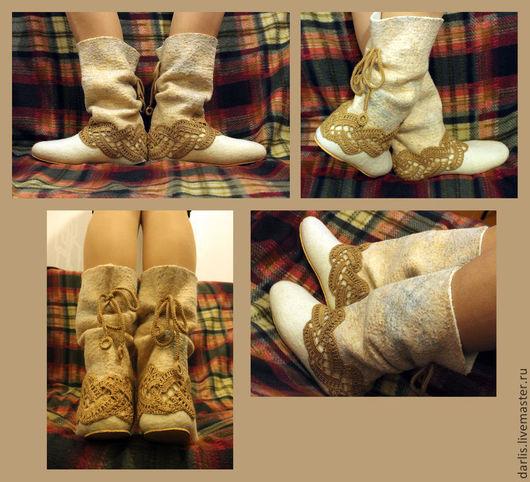Обувь ручной работы. Ярмарка Мастеров - ручная работа. Купить Валенки домашние. Handmade. Бежевый, домашние валеночки, волокна вискозы