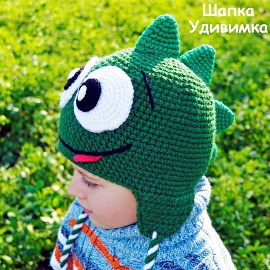 Шапки и шарфы ручной работы. Ярмарка Мастеров - ручная работа. Купить Шапка Зеленый динозаврик. Handmade. Динозавр, теплая шапка