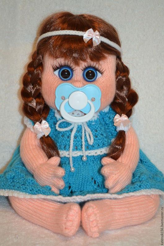 Человечки ручной работы. Ярмарка Мастеров - ручная работа. Купить Кукла вязаная с соской Галинка. Handmade. Синий, вязаный пупс