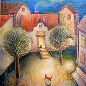 Картины и панно ручной работы. Ярмарка Мастеров - ручная работа Приключения рыжего кота-1 Картина маслом для детской. Handmade.