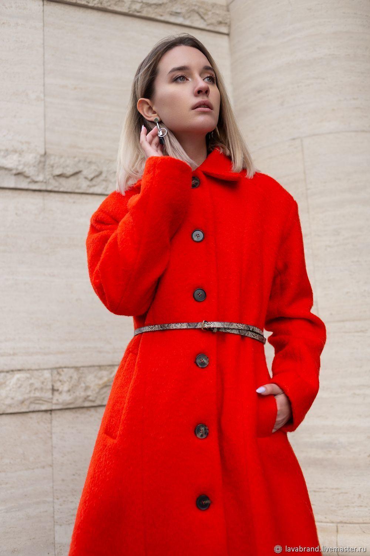 76fabe5e75404 Верхняя одежда ручной работы. Ярмарка Мастеров - ручная работа. Купить  Дизайнерское красное пальто.