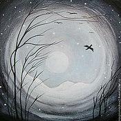 Картины и панно ручной работы. Ярмарка Мастеров - ручная работа Картина  Птицы   акрил  пейзаж  дерево синий. Handmade.