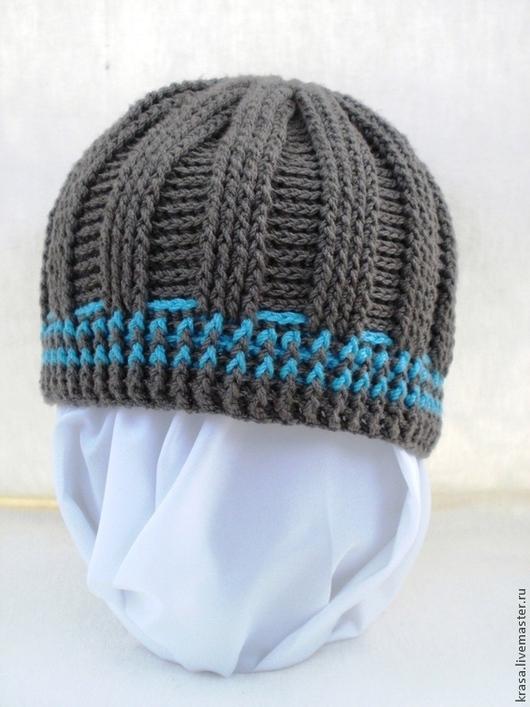 Шапки и шарфы ручной работы. Ярмарка Мастеров - ручная работа. Купить вязаная подростковая шапка. Handmade. Темно-серый