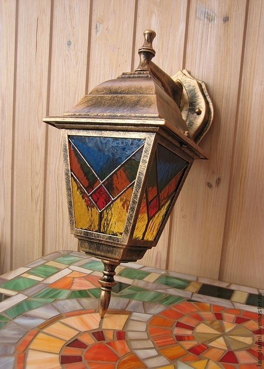 """Освещение ручной работы. Ярмарка Мастеров - ручная работа. Купить Фонарь """"Весенний"""". Handmade. Фонарь, стекло, бронзовый, красный, припой"""
