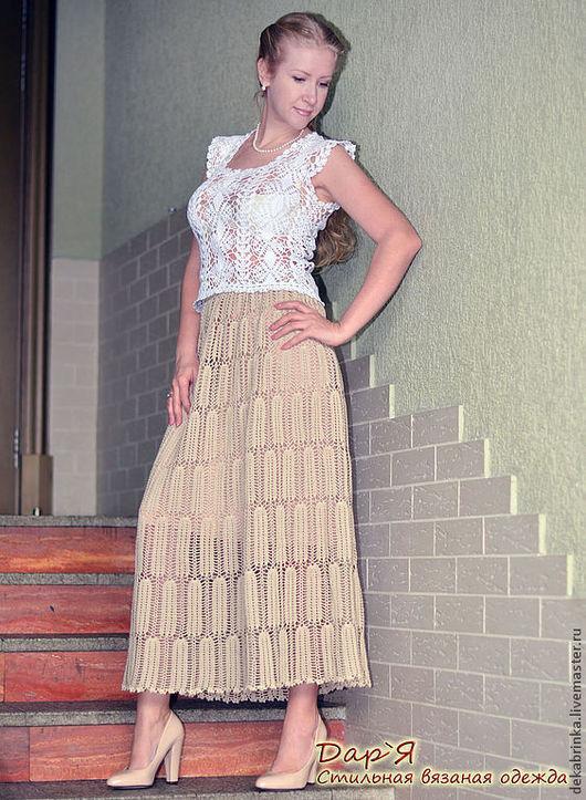 """Юбки ручной работы. Ярмарка Мастеров - ручная работа. Купить """"Лэхен"""" вязаная крючком кружевная летняя юбка из хлопка. Handmade."""