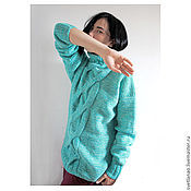 Одежда handmade. Livemaster - original item LAGUNA knitted sweater made of Italian Merino wool. Handmade.