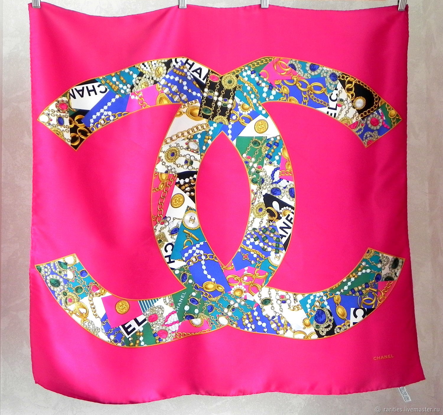 Chanel scarf,Italy,100% silk,authentic Chanel silk handkerchief, Vintage accessories, Moscow,  Фото №1