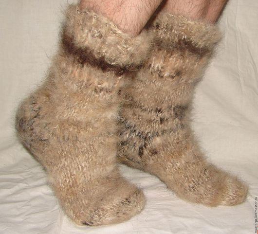 Носки  пуховые толстые арт№106м из собачьей шерсти . Носки связаны из 2-х толстых ссученных ниток (толщина). Очень толстые и очень теплые .  Ручное прядение. Ручное вязание. Живая нитка.