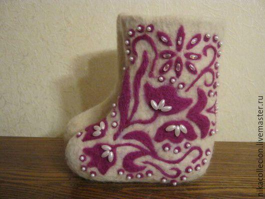 Обувь ручной работы. Ярмарка Мастеров - ручная работа. Купить Валенки детские валяные для улицы с ручной росписью. Handmade. Белый