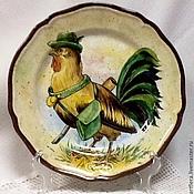 Посуда handmade. Livemaster - original item Painted porcelain Plate porcelain Cock - hunter. Handmade.