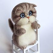 Куклы и игрушки handmade. Livemaster - original item Kitty Beige stripey felted toy. Handmade.