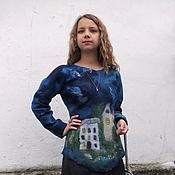"""Свитеры ручной работы. Ярмарка Мастеров - ручная работа Валяный свитер """"Ночной город"""". Handmade."""
