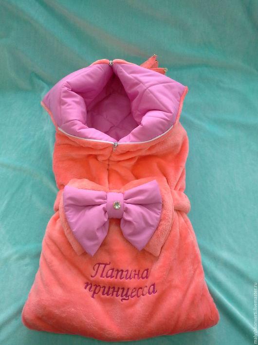 """Для новорожденных, ручной работы. Ярмарка Мастеров - ручная работа. Купить Конверт на выписку и для прогулок """"Принцесса"""" с вышивкой. Handmade. Комбинированный"""