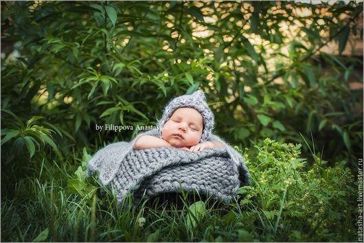 Пледы и одеяла ручной работы. Ярмарка Мастеров - ручная работа. Купить Толстая пряжа для фотосессии новорожденных. Handmade. Серый