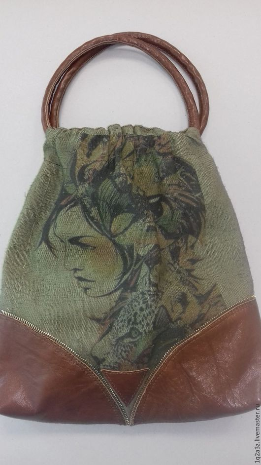 Женские сумки ручной работы. Ярмарка Мастеров - ручная работа. Купить Сумка комбинированная. Handmade. Хаки, подарок женщине