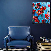 Pictures handmade. Livemaster - original item Oil painting abstract flowers red poppies as a gift. Handmade.