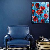 Картины ручной работы. Ярмарка Мастеров - ручная работа Картина маслом абстрактные цветы красные маки в подарок. Handmade.